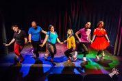 Hallelujah, it's rainin' Queers! (Charlie Gray, Nick Hongola, Melanie Marshall, Amanda Ramos, Shane Swenson, Jan Gilbert) Photo by James Jordan Pictures for Killing My Lobster.
