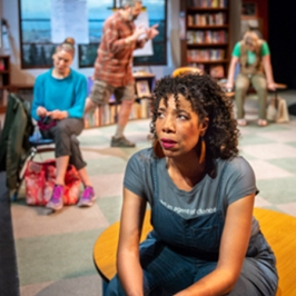 Carina (Elizabeth Carter) finds her patience tested by her fellow parents at Eureka. Photo by David Allen.