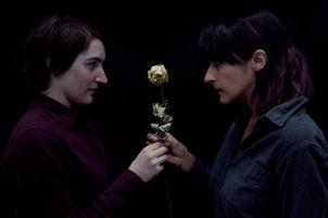 Karel Čapek (Ava Maag) and Helena Rossum (Kitty Torres) make a genuinely human connection. Photo by Marisa Darabi.