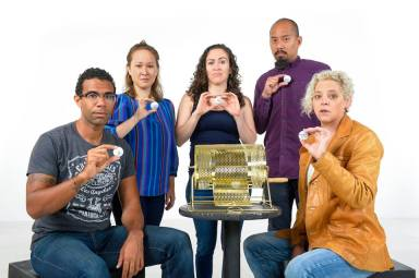 """The """"Somebodys"""" find their roles (L-R: Lance Gardner, Jenny Nelson, Sarita Ocón, Jomar Tagatac, Stacy Ross. Photo courtesy of Cal Shakes."""