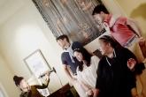 "The ""Asians"" woman (Rinabeth Apostol) meets the Donnellys (Sean Fenton, Karen Offereins, Michelle Talgarow, Greg Ayers). Photo by Annie Wang."
