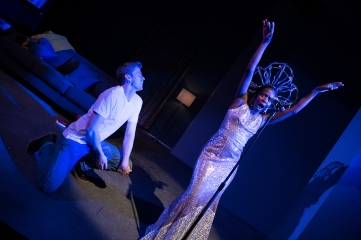 "Gus (Adam Donovan) listens to his ""inner Black woman"": Diana Ross (Santoya Fields). Photo by Ben Krantz."