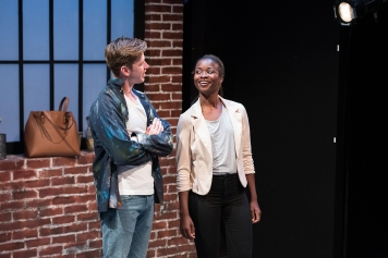 Though Gus (Adam Donovan) doesn't have a very diverse voice, he thinks he can use the voice of Vanessa (Santoya Fields). Photo by Ben Krantz.