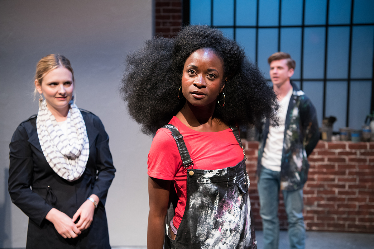 "Jane (Luisa Frasconi) meets ""Balkonaé"" (Santoya Fields) as a bewildered Gus (Adam Donovan) looks on. Photo by Ben Krantz."