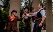 The conspirators (Chris Steele, Hunter McNair, Alan Coyne, Joseph Schummer) plot to kill Caesar. Photos by Lauren Matley