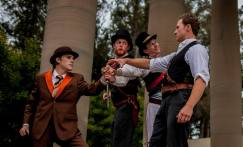 The conspirators (Chris Steele, Hunter McNair, Alan Coyne, Joseph Schummer) plot to kill Caesar. Photos by Lauren Matley