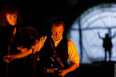 The Soothsayer (Emily Stone) is there for Brutus' (Joseph Schommer) final moments. Photos by Lauren Matley