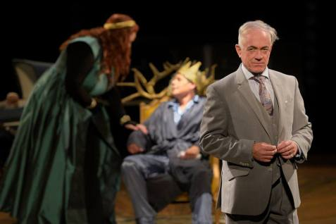 Richard III (Danny Scheie) plots his move against Queen Elizabeth (Catherine Luedtke) and King Edward IV (Stacy Ross). Photo by Kevin Berne.