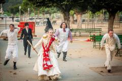 Calpurnia (Lauren Hayes) leads the uprising in the streets of Rome. Photos by Lauren Matley