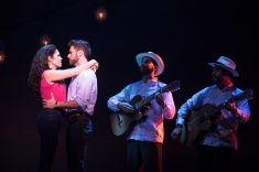 Gloria (Christie Prades) and Emilio (Mauricio Mauricio Martínez) make lovely music together (mariachis played by Danny Burgos and Omar Lopez). Photo by Matthew Murphy