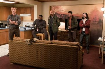 "The ne'er-do-wells of ""Group 2"": McKenna (Boyd Holbrook); Nebraska (Trevante Rhodes); Coyle (Keegan-Michael Key); Baxley (Thomas Jane); Nettles (Augusto Aguilera). Photo by Kimberley French for 20th Century Fox."