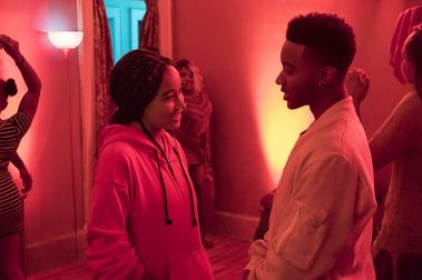 Starr (Amandla Stenberg) reconnects with childhood friend Khalil (Algee Smith). Photo by Erika Doss for Twentieth Century Fox