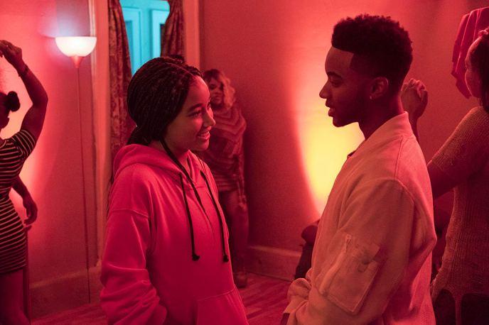 Starr (Amandla Stenberg) reconnects with childhood friend Khalil (Algee Smith). Photo by Erika Doss for Twentieth Century Fox