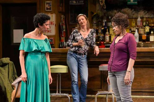Tracey's (Lise Bruneau, center) birthday gets everyone's blood up, even Jessie (Sarah Nina Hayon) and Cynthia (Tonye Patano). Photo by Kevin Berne.