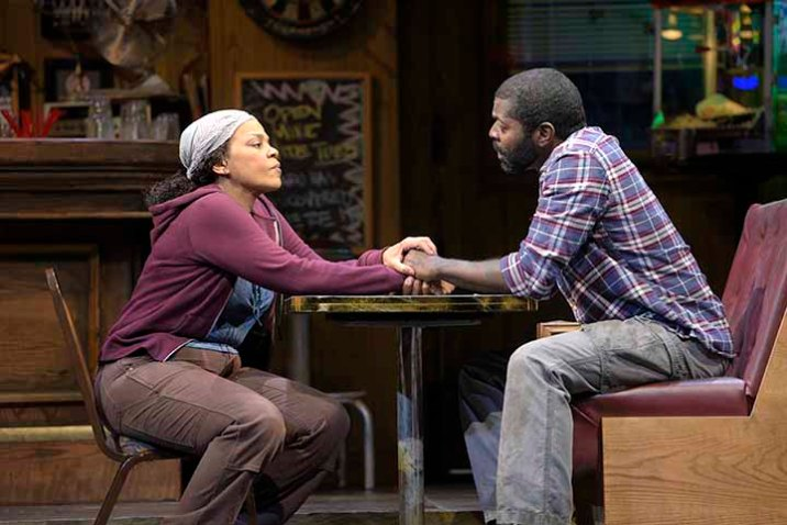 Cynthia (Tonye Patano) and ex-husband Brucie (Chiké Johnson) wonder if they can still make it work. Photo by Kevin Berne.