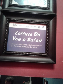 """Specialty Cocktail: """"Lettuce Do You a Salad"""". Photo by Me."""