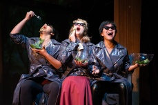 Women. Laughing. Salad. (Regina Morones, Melanie Dupuy, Sango Tajima) Photo by Ben Krantz Studio.