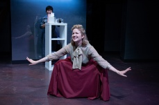 Sandy (Melanie Dupuy) goes to extreme lengths to beauty. (Sango Tajima in background) Photo by Ben Krantz Studio.