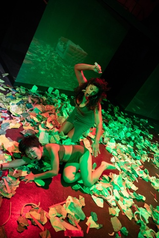 Meredith (Regina Morones, above) and Tori (Sango Tajima, below) have their inevitable salad-fight over a guy named Guy. Photo by Ben Krantz Studio.