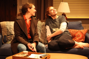 Sisters Annie (Martha Brigham) and Macy (Emily Radosevich) take a brief reprieve from the tragedy of their situation. Photo courtesy of Magic Theatre.