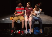 Gabe (Davied Morales), Blaze (Isabel Langen), and Rowena (Neiry Rojo) have been friends since childhood, but graduation may bring that to an end. Photo by Jessica Palopoli.