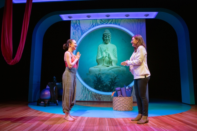 When things go wrong, Joan (Susi Damilano, right) turns to yogini Romola (Ayelet Firstenberg, left) for assistance. Photo by Jessica Palopoli.