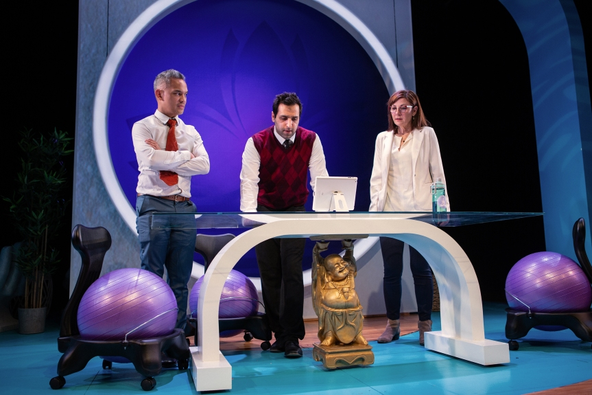 """When """"bad"""" becomes """"worse"""", Raj (Bobak Cyrus Bakhtiari, center) reluctantly turns to his extended family to help Fred (Ryan Morales, left) and Joan (Susi Damilano, right). Photo by Jessica Palopoli."""