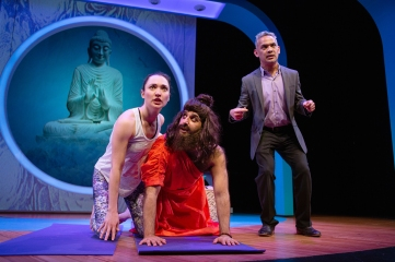 """Romola (Ayelet Firstenberg) is unaware that the """"renowned guru"""" she admires is actually Raj (Bobak Cyrus Bakhtiari) in disguise. Fred (Ryan Morales) certainly won't tell her. Photo by Jessica Palopoli."""