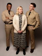 Soldiers Flick (Jon-David Randle, left) and Monty (Jack O'Reilly, right) both have their eye on Violet (Juliana Lustenader, center). Photo by Ben Krantz.