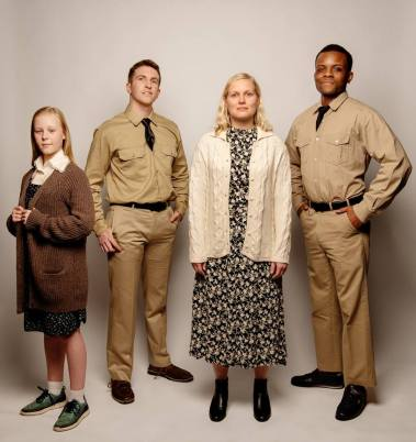 Young Vi (Miranda Long) has no idea what awaits her when her older self (Juliana Lustenader, center) encounters Monty (Jack O'Reilly, 2nd-left) and Flick (Jon-David Randle, right). Photo by Ben Krantz.
