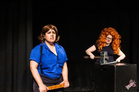 A depressed Scottish warrior (Melanie Marshall) opens up to ginger swordsmith (Allison Page). Photo by Clinton Nelson.
