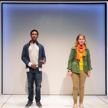 After one night, Tom (Michael A. Curry) and Amber (Ella Dershowitz) find themselves on opposite sides of the same story. Photo by David Allen.