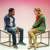 Tom (Michael A. Curry) and Amber (Ella Dershowitz) have a traditional Meet-Cute. Photo by David Allen.