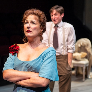 Tekla (Rebecca Dines) has never felt as offended by Adolph (Joseph Patrick O'Malley) as she does now. Photo by David Allen for Aurora Theatre