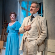 Tekla (Rebecca Dines) finally learns that Gustav (Jonathan Rhys Williams) is behind her husband's recent change in demeanor. Photo by David Allen for Aurora Theatre