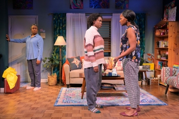 Abasiama (Kimberly Scott) expected a more pleasant reunion with daugters Adiaha (Aneisa Hicks) and Iniabasi (Eunice Woods). Photo by Kevin Berne.