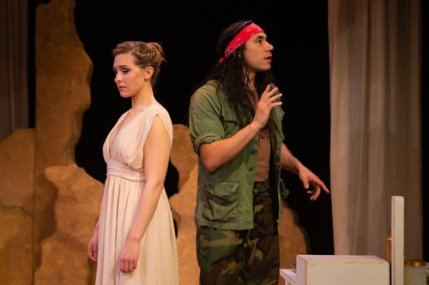 After nearly 20 years, Helen (Adrian Deane) and Menalaus (Steven Flores) are so close, yet so far. Photo by Devlin Shand