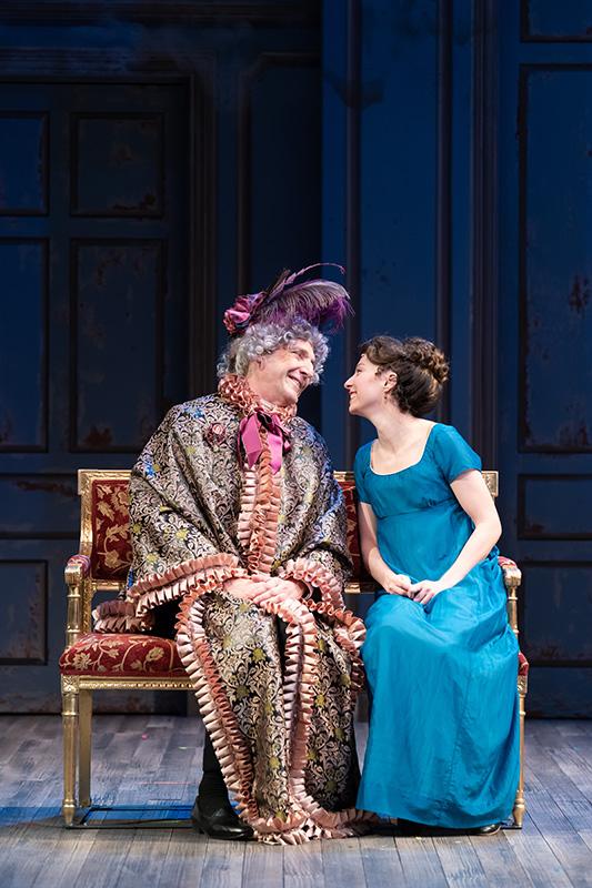 Miss Crawley (Dan Hiatt) takes a liking to the no-nonsense Becky (Rebeckah Brockman). Photo by Scott Suchman.
