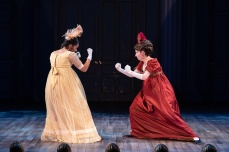 Circumstance can turn even best friends Amelia (Marliet Martinez) and Becky (Rebeckah Brockman) into fierce rivals. Photo by Scott Suchman.