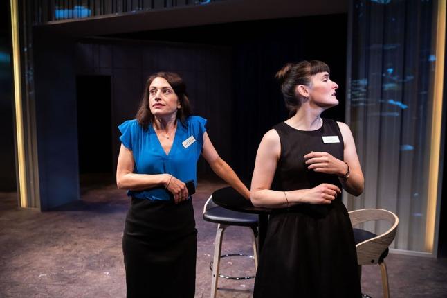 The campaign puts a strain on Lauren (Sarah Mitchell) and Kate's (Elissa Beth Stebbins) friendship. Photo by Ben Krantz.