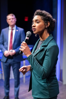 Sen. John McDowell (Don Wood) and Congresswoman Sydney Millsap (Sam Jackson) have their first televised debate. Photo by Ben Krantz.