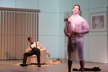 Paul Owen (Kyle Ewalt) figures out too late why Patrick Bateman (Kipp Glass) invited him to his apartment. Photo by Nick Otto.