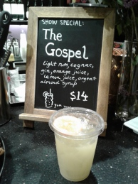 The themed cocktail: 'The Gospel'. Photo by Me.
