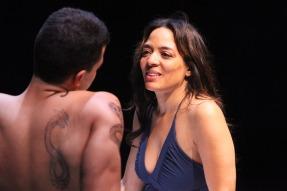 Oedipus (Esteban Carmona) and Jocasta (Lorrain Velez) connect through their pain. Photo by Jennifer Reily.