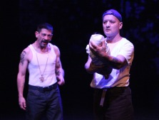Laius (Gendell Hing-Hernandez) asks Tiresias (Sean San José) to kill the son he thinks will betray him. Photo by Jennifer Reily.