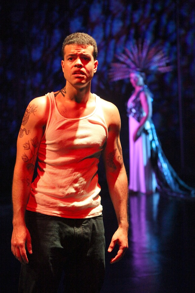 Oedipus (Esteban Carmona) is free, but is stalked by the Sphinx (Lorraine Velez). Photo by Jennifer Reily.