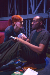 Millie (Emily Corbo) and Montag (Ron Chapman) - physically close, but far apart. Photo by Morgan Finley King
