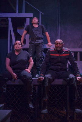Black (Melanie Marshall), Holden (James Aaron Oh), and Beatty (Dorian Lockett) don't think too hard about their jobs. Photo by Morgan Finley King