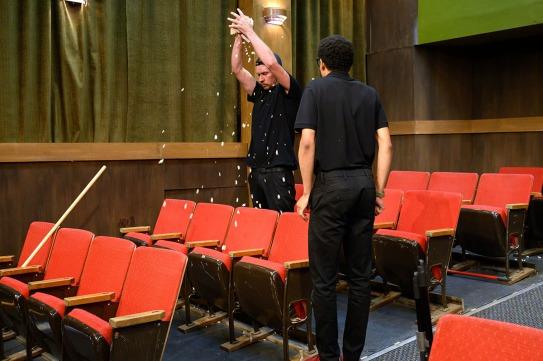 Sam (Chris Ginesi) doesn't take Avery's (Justin Howard) revelation well. Photo by Ben Krantz Studio.