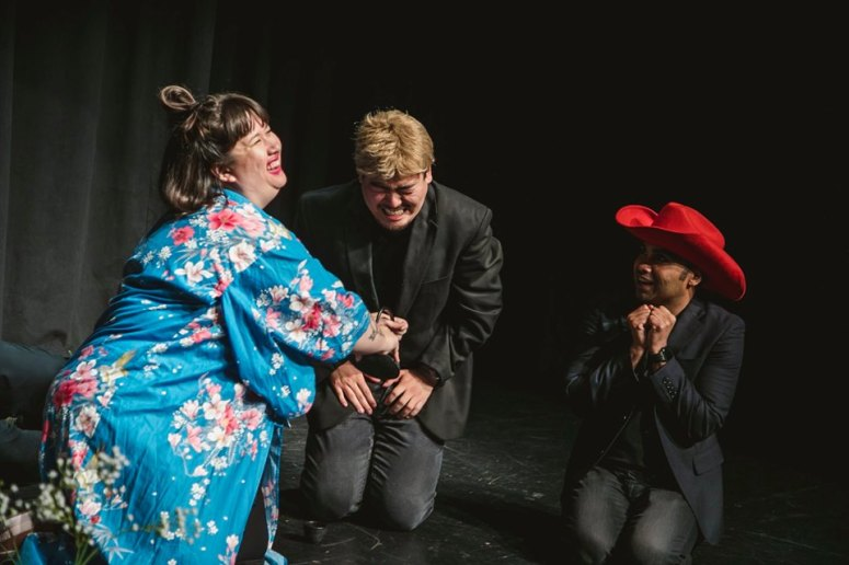 Legendary geisha 'Connie' (Marisa Hankins) with two new willing clients (Andrew Chung and Imran G). Photo by Kayleigh Shawn McCollum.